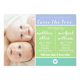 Birth Announcement - Twins, Twice the Love