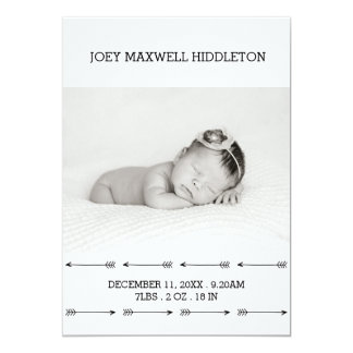 Birth Announcement Two Photos Simple Arrows
