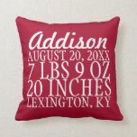 Birth Announcement Typography Pillow - Personalize