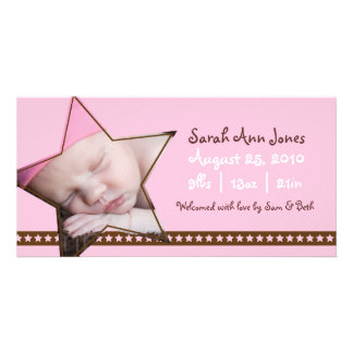 Birth Announcement with a Pink and Star Theme