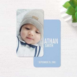 Birth Announcement with Custom Newborn Baby Photo Business Card