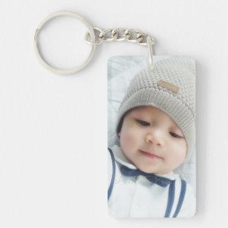 Birth Announcement with Custom Newborn Baby Photo Keychain