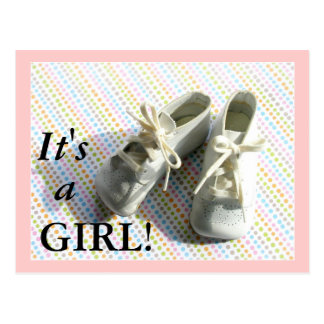 Birth announcement with vintage baby booties postcard