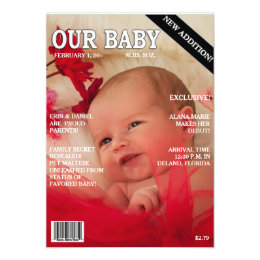 """Birth Announcement! Your baby on """"Magazine"""" Cover Card"""