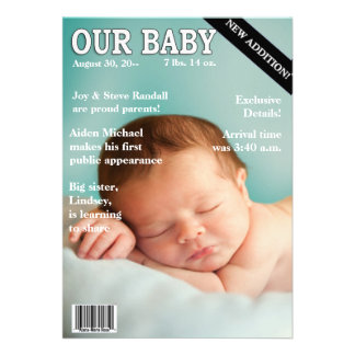 Birth Announcement Your baby on Magazine Cover