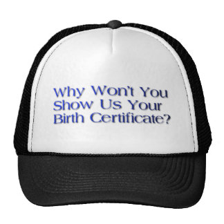 birth certificate question mesh hat