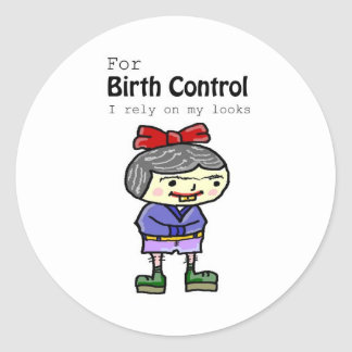 birth control classic round sticker