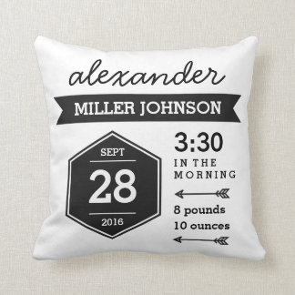 Birth Details Black White Pillow - Monochrome Art