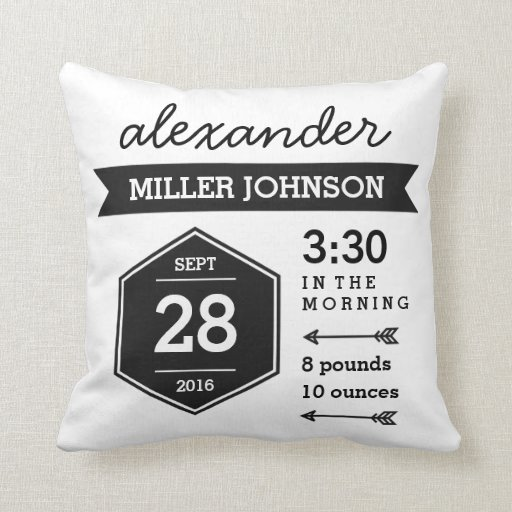 Birth Details Black White Pillow - Monochrome Art