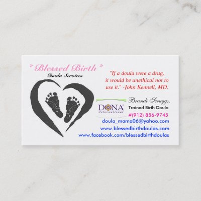Birthing Doula Pregnant Baby Bump With Blue Ribbon Business Card