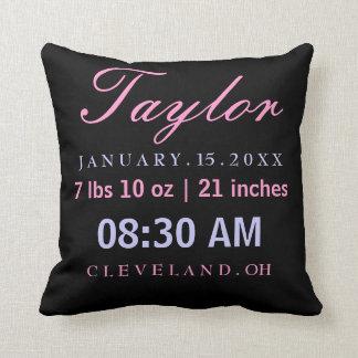 Birth Information Announcement Pink Lavender Throw Pillow