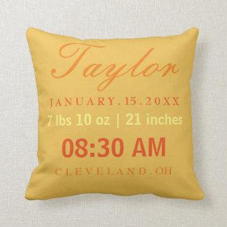 Birth Information Announcement Yellow Orange Throw Pillow
