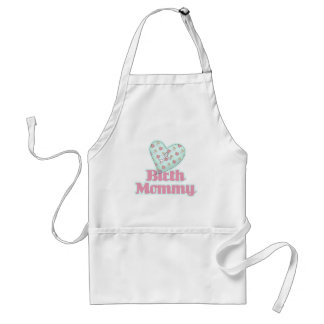 Birth Mommy Pink Ribbon Heart Adult Apron