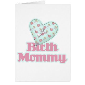 Birth Mommy Pink Ribbon Heart Card