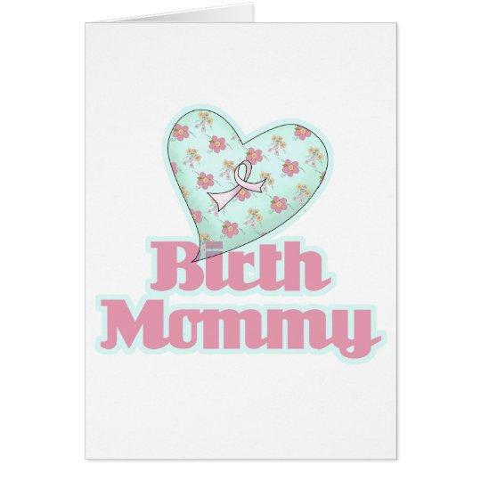Birth Mommy Pink Ribbon Heart Card