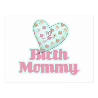 Birth Mommy Pink Ribbon Heart Post Card