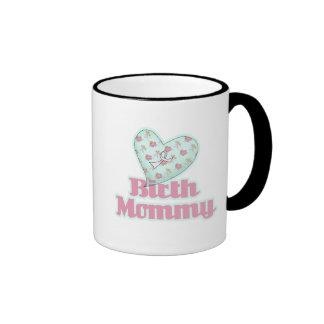 Birth Mommy Pink Ribbon Heart Ringer Coffee Mug