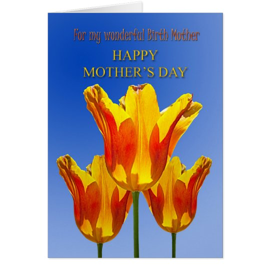 Birth mother Mother's Day card, tulips full of sun Card