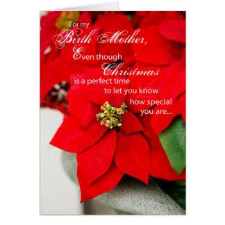 Birth Mother Poinsettia Seasons Greetings Card