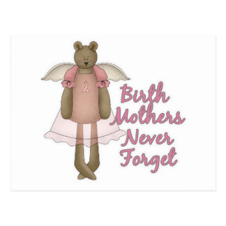 Birth Mothers Never Forget Teddy Bear Design Postcard