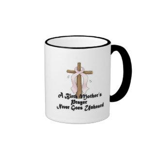 Birth Mothers Prayer Never Unheard Pink RIbbon Ringer Coffee Mug