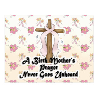 Birth Mothers Prayer Never Unheard Pink RIbbon Post Cards