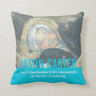Birth newborn gift boys blue birth details pillow