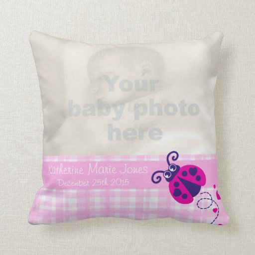 Birth newborn gift ladybug girls pink pillow