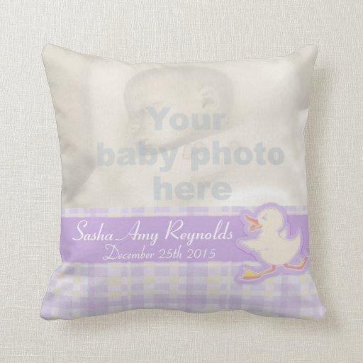 Birth newborn gift pale purple pillow
