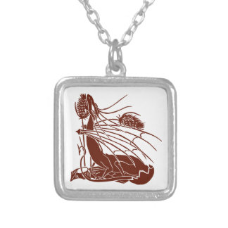"""""""Birth Of A Dragon"""" - Deep Red - Square Pendant Necklace"""