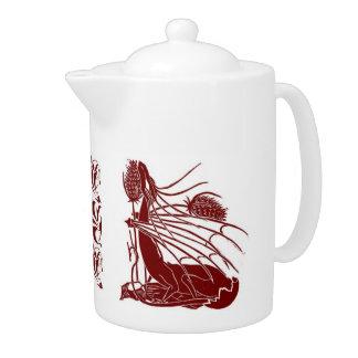 Birth Of A Dragon Tea Pot - Burgandy