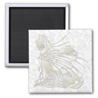 """Birth Of A Dragon"" White Gold Marble Magnet"