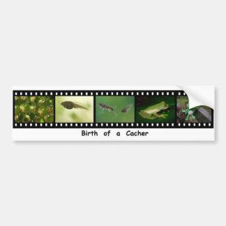 Birth of a Geocacher Filmstrip Bumper Sticker Car Bumper Sticker