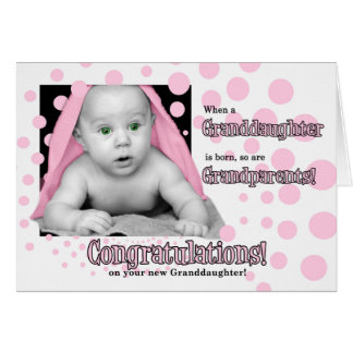 Birth of a Granddaughter in Pink Polka Dots Card