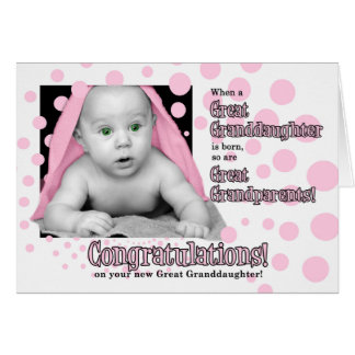 Birth of a Great Granddaughter in Pink Polka Dots Card