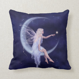Birth of a Star Moon Fairy Pillow Ice & Navy Blue