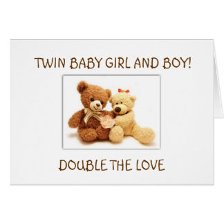 BIRTH OF BABY GIRL AND BABY BOY TWINS CARD