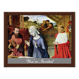 Birth Of Christ And The Cardinal Rolin By Jean Hey Custom Invitations