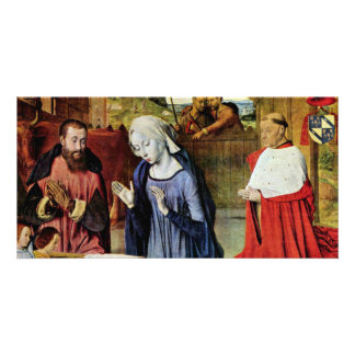 Birth Of Christ And The Cardinal Rolin By Jean Hey Photo Greeting Card