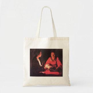 Birth of Christ by Georges de La Tour Canvas Bags