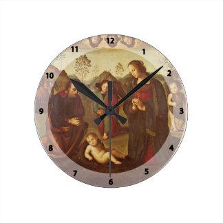 Birth of Christ, Tondo by Pietro Perugino Round Wall Clocks