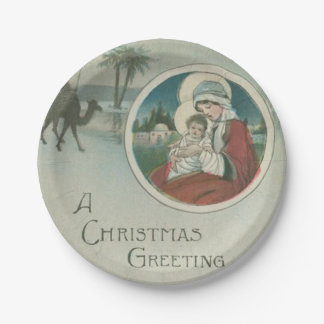 Birth of Jesus Christmas Greetings 7 Inch Paper Plate