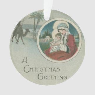 Birth of Jesus Christmas Greetings Ornament