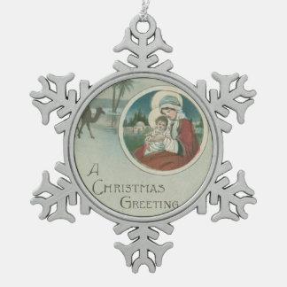Birth of Jesus Christmas Greetings Snowflake Pewter Christmas Ornament