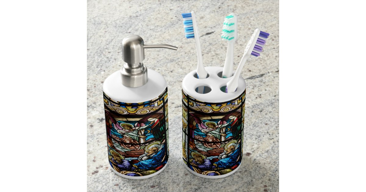 Birth of jesus stained glass window bath accessory set for Glass bath accessories set