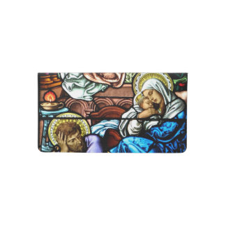 Birth of Jesus Stained Glass Window Checkbook Cover