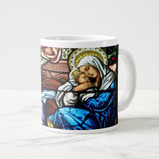 Birth of Jesus Stained Glass Window Large Coffee Mug