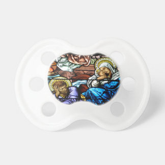 Birth of Jesus Stained Glass Window Pacifier