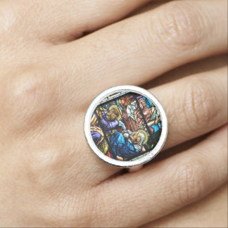 Birth of Jesus Stained Glass Window Photo Rings