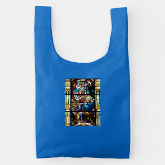 Birth of Jesus Stained Glass Window Reusable Bag